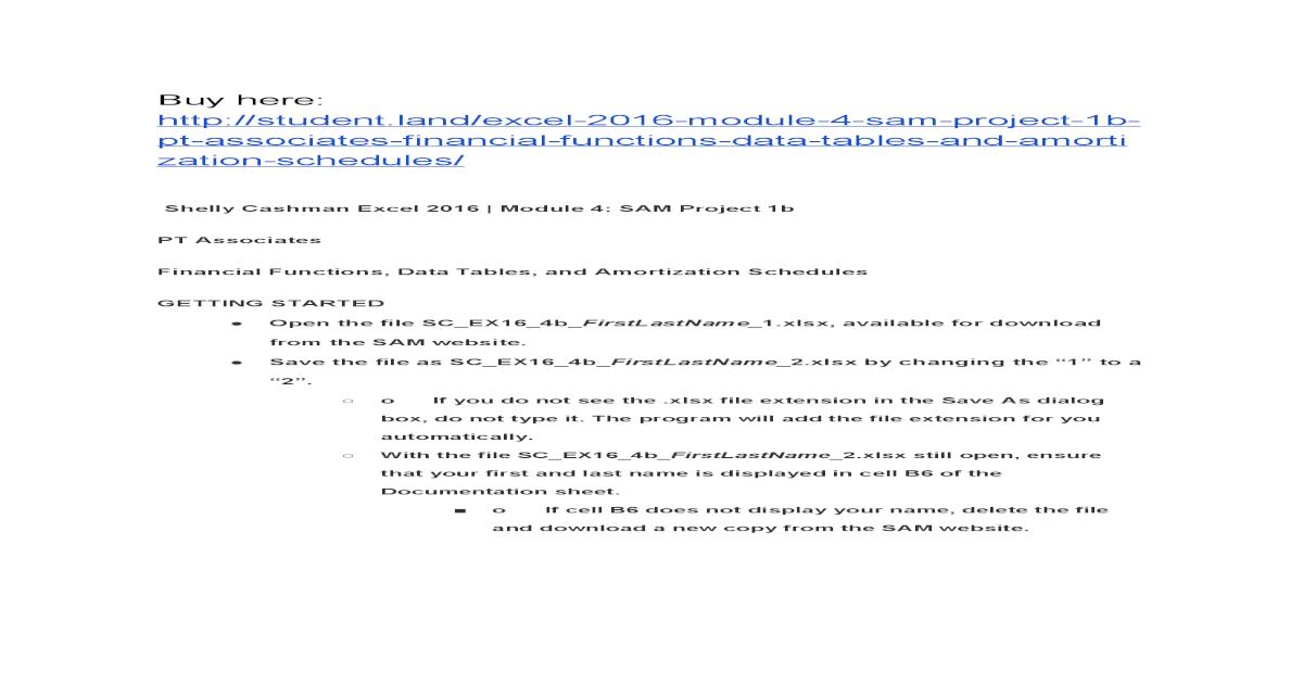 Excel 2016   Module 4: SAM Project 1b PT Associates