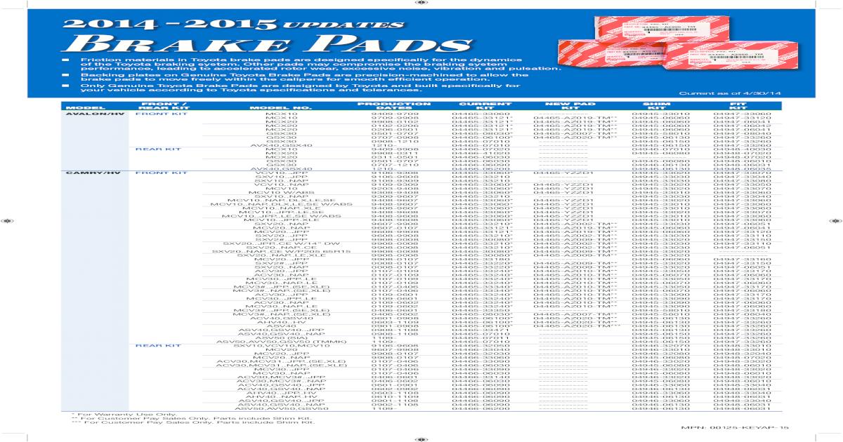 Camry Toyota Avalon Solora Rear Brake Pad Shim Kit 04945-06080