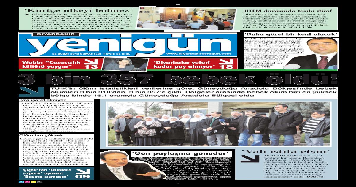 Diyarbakir Yenigun Gazetesi 23 Subat 2013