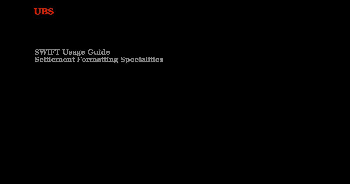 Swift Formatting Specialities Ubs