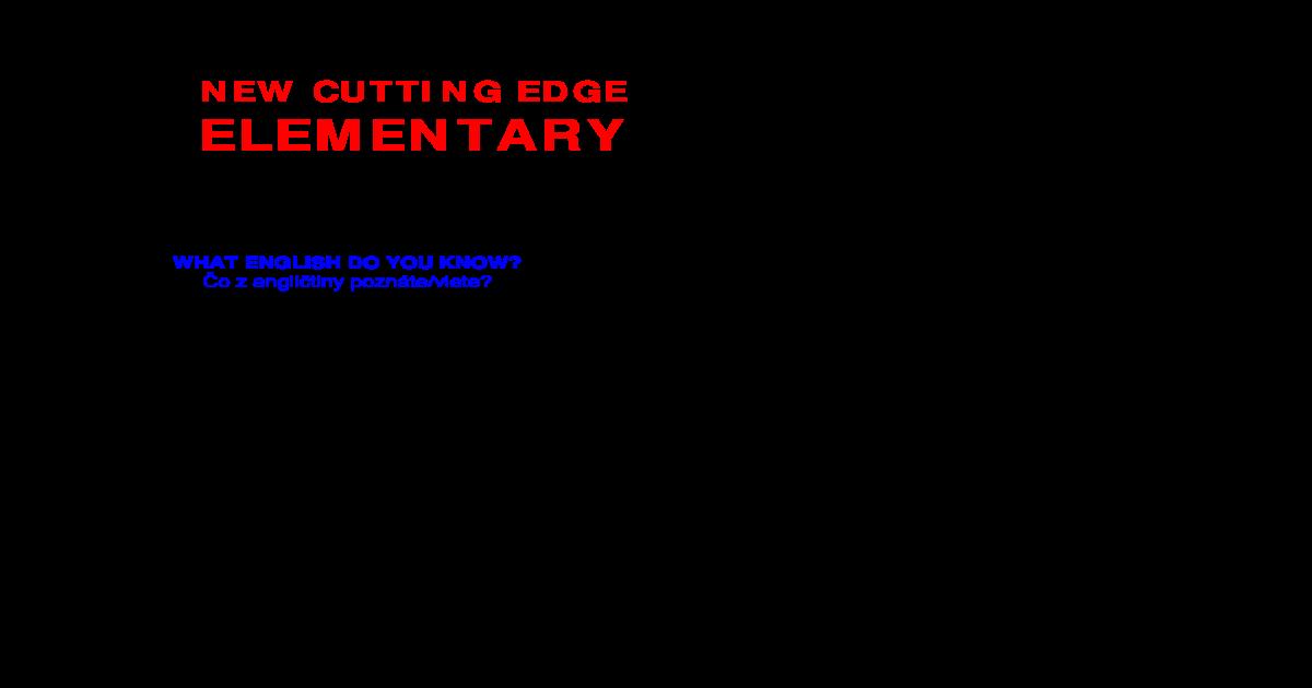 New Cutting Edge Elementary Vod Cutting Edge Elementary Web