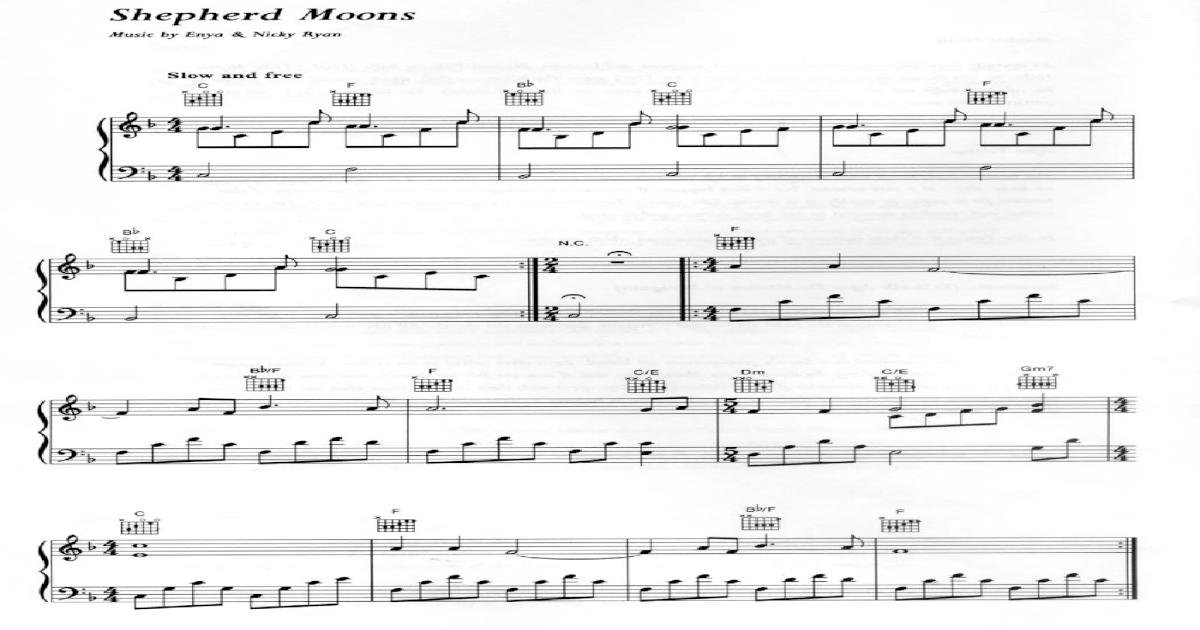 Enya Shepherd Moonspiano Sheet Music Score Partition