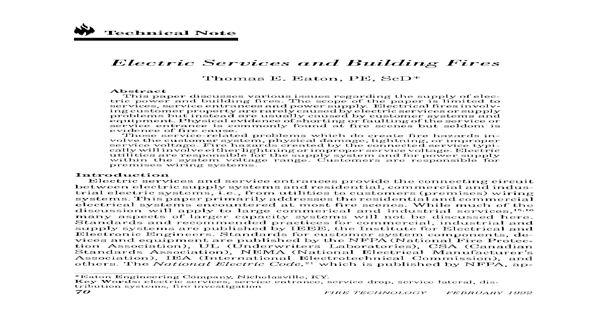 Electric services and building fires on