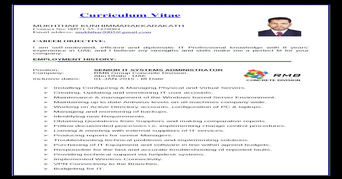 IT & HR Mukhthar CV