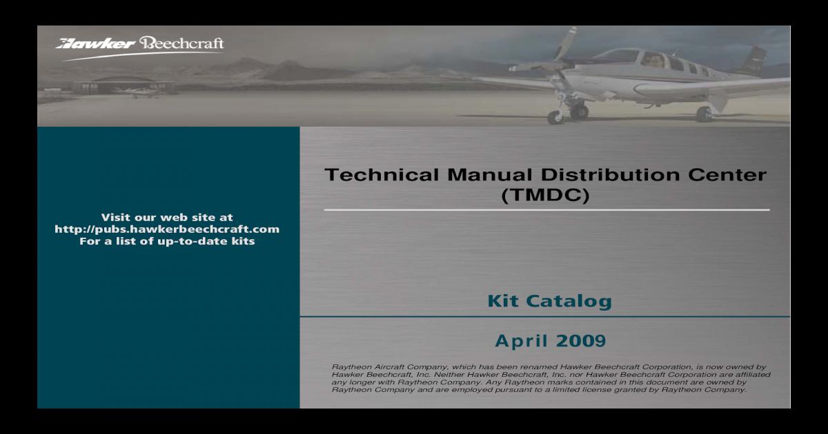 Beech Kit Catalog April 2009 on