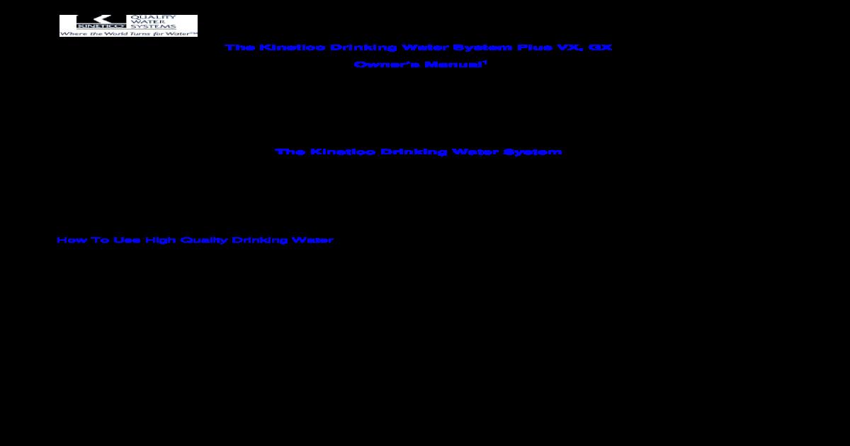 Kinetico RO System Plus VX, GX Manual