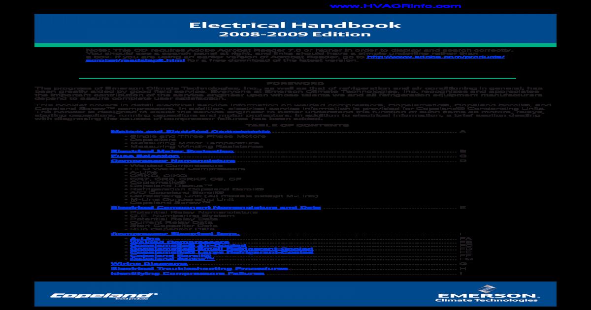 Copeland Elect Handbook on compressor start relay diagram, hermetic compressor wiring diagram, compressor start capacitor wiring diagram,
