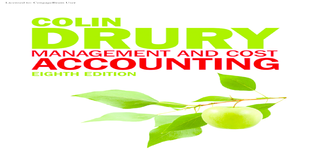 Drury Management And Cost Accounting 8 Edition