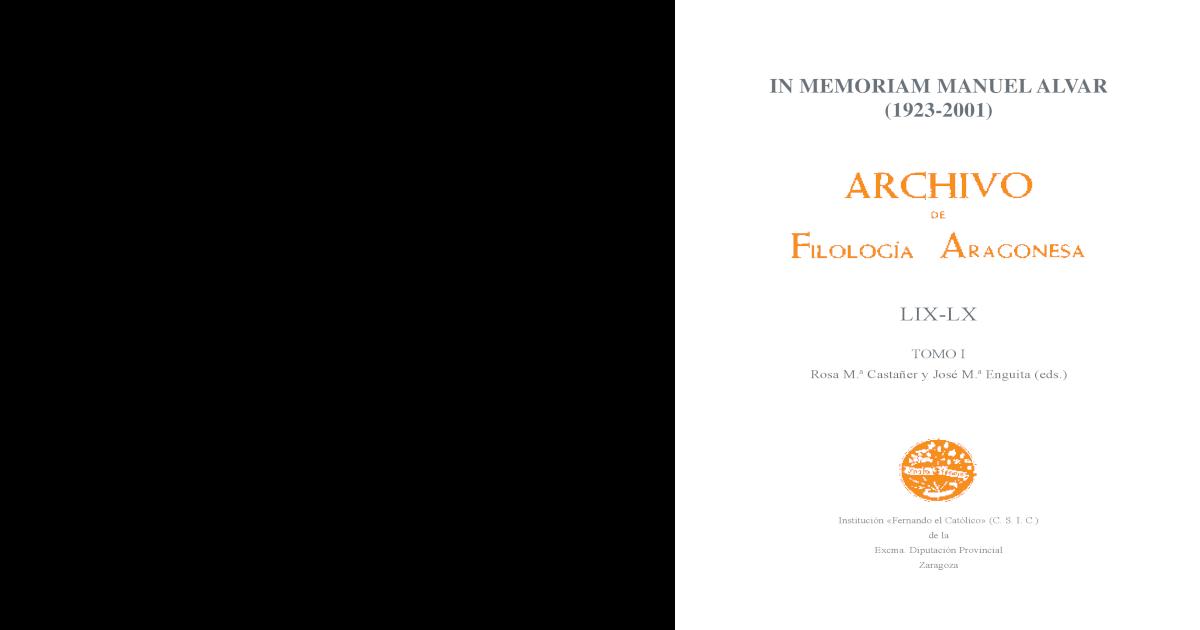 Memoriam In In Memoriam Manuel Manuel AlvarFilologa Aragonesa 8nm0Nwv