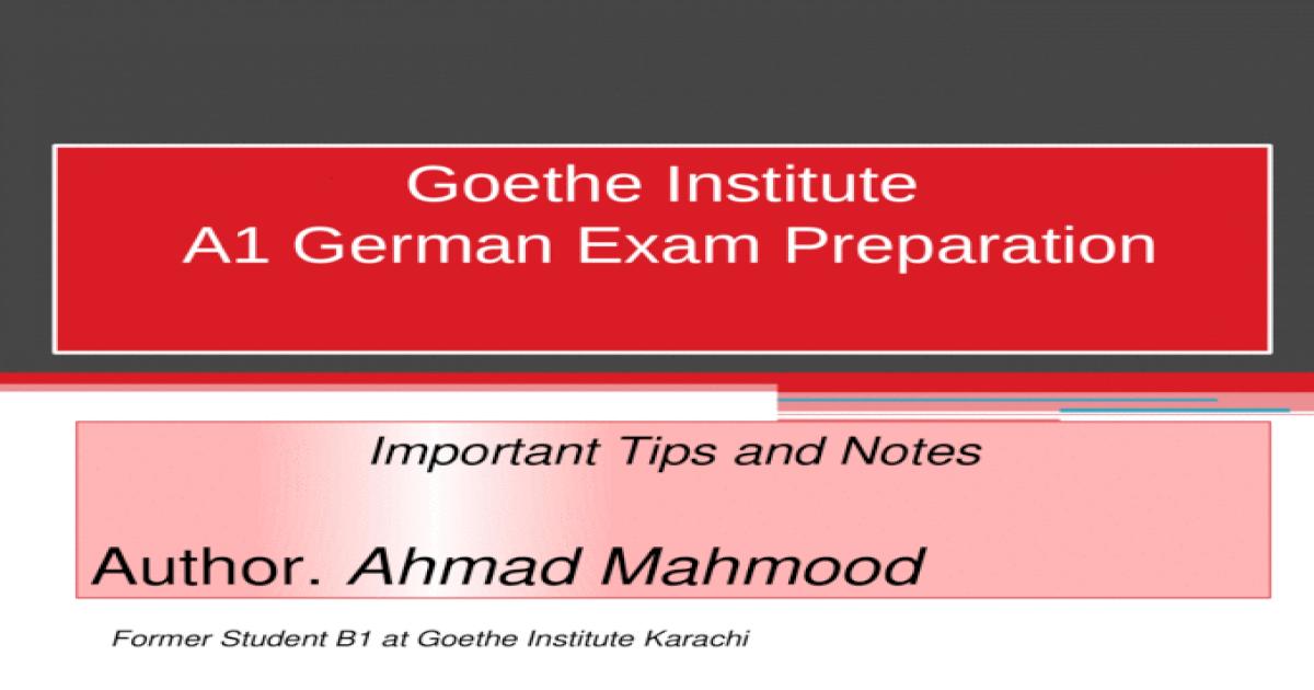 Goethe institut a1 test lesen