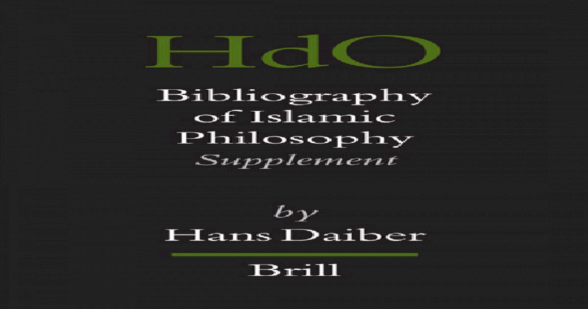Bibliography Of Islamic Philosophy Handbook Of Oriental Studies