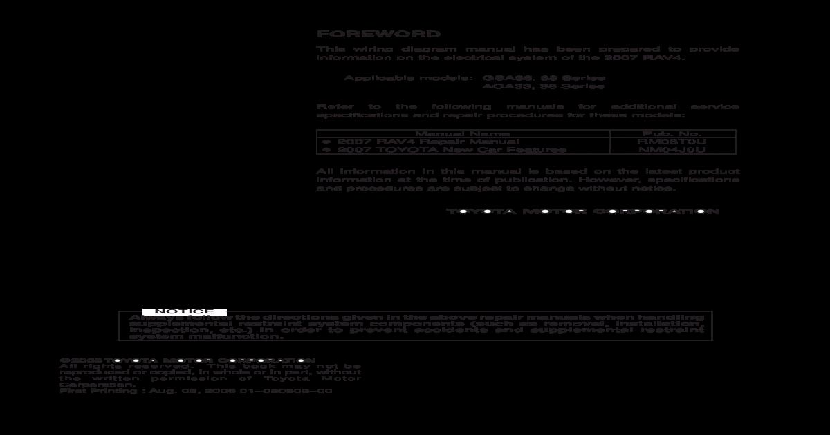 2007 Toyota RAV4 Electrical Wiring Diagrams (EWD)