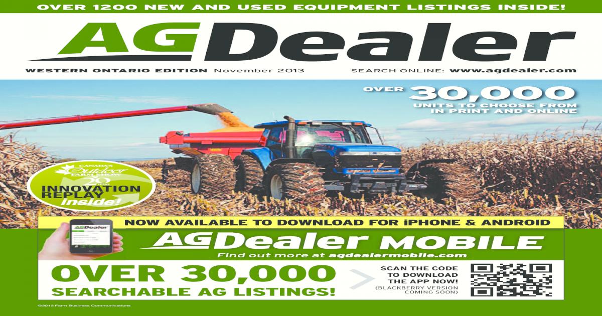 AGDealer Western Ontario Edition, November 2013