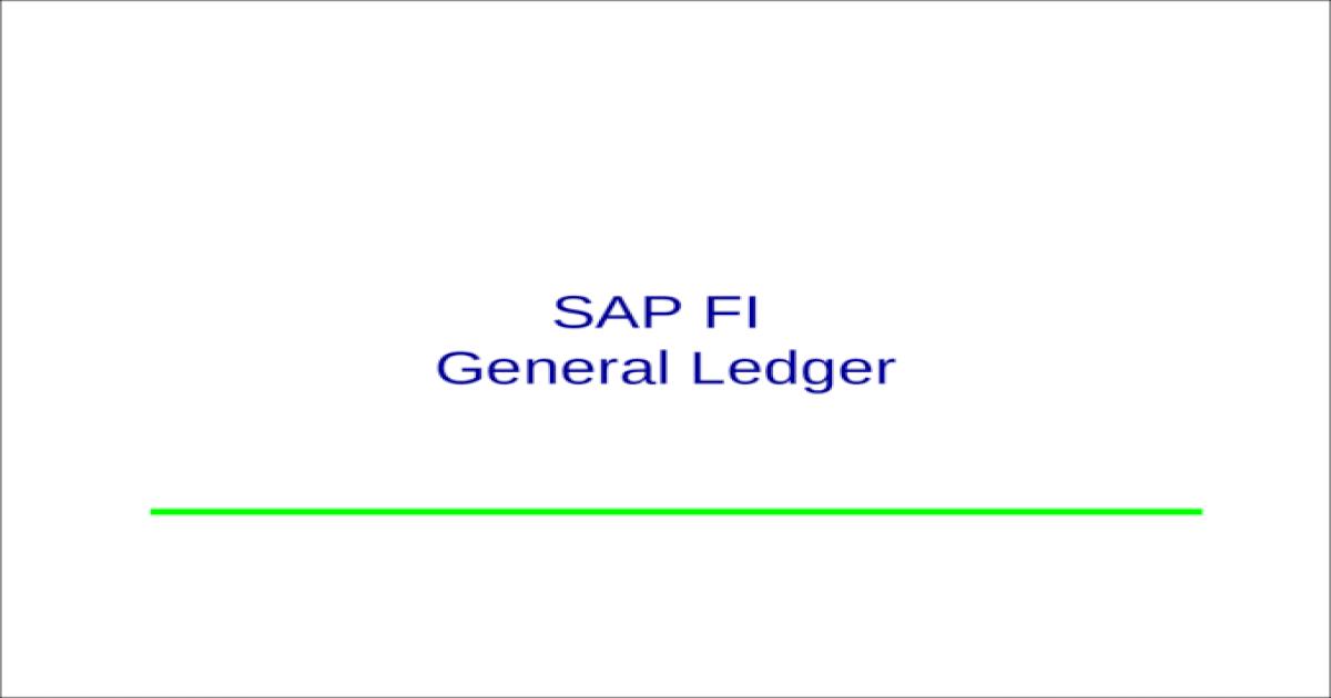 SAP FI GL PPT