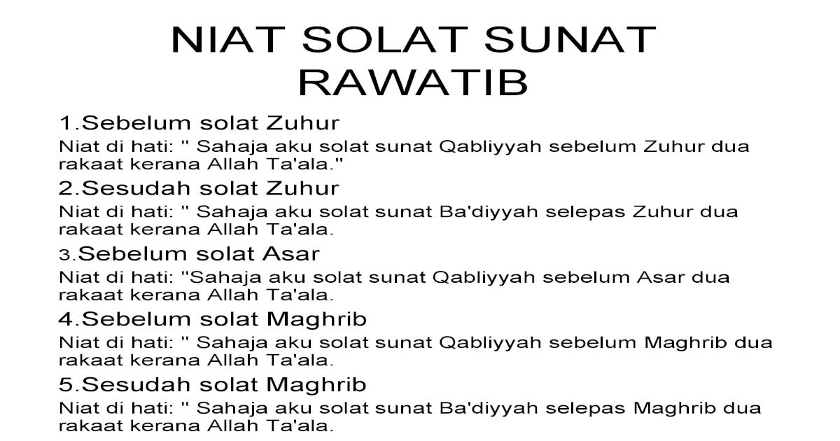 Niat Solat Sunat Rawatib