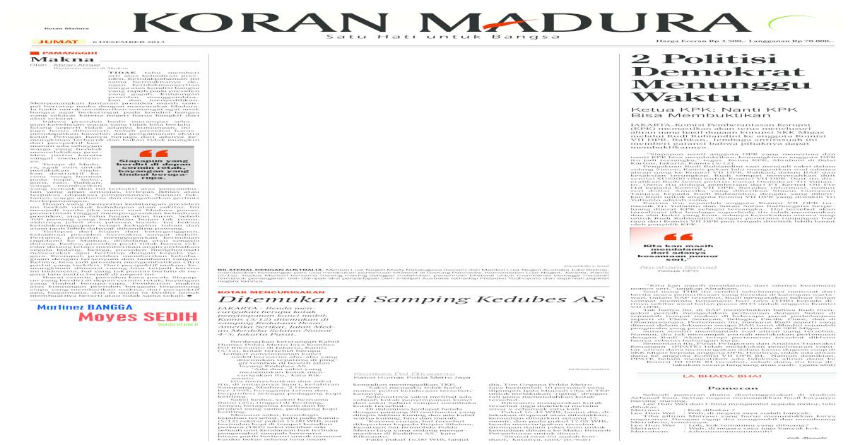 E Paper Koran Madura 06 Desember 2013