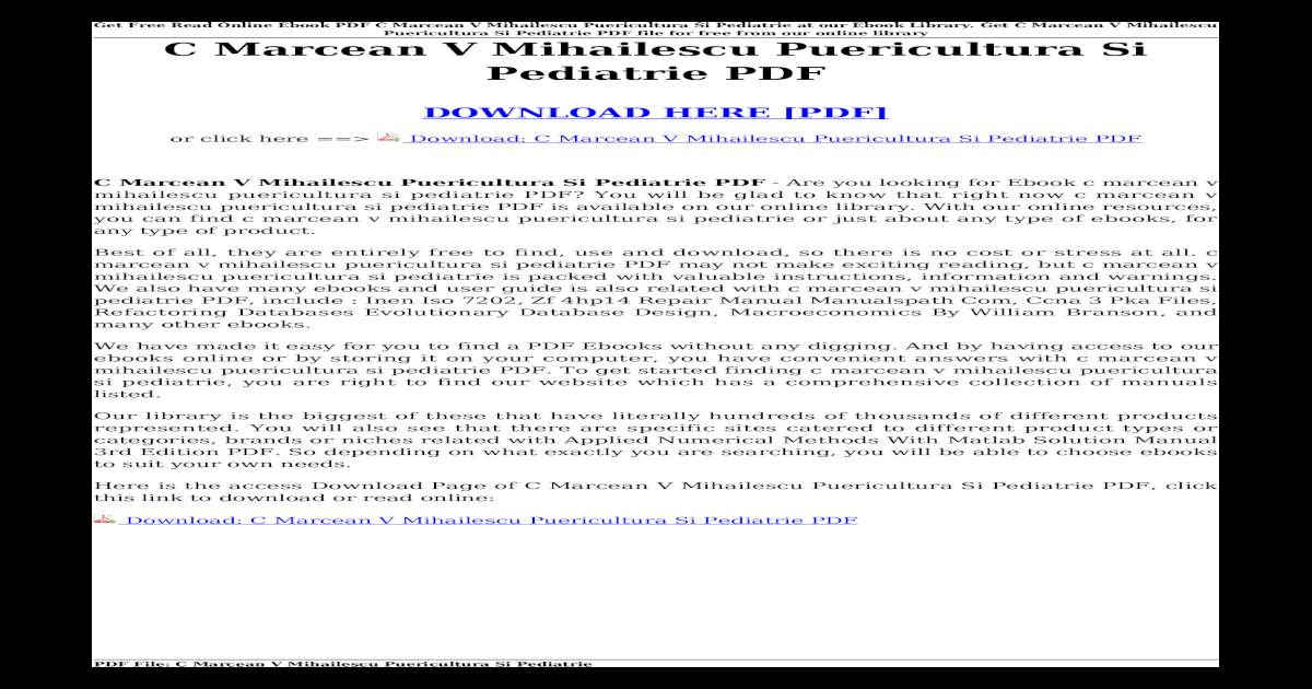 Download] C Marcean V Mihailescu Puericultura Si     Free