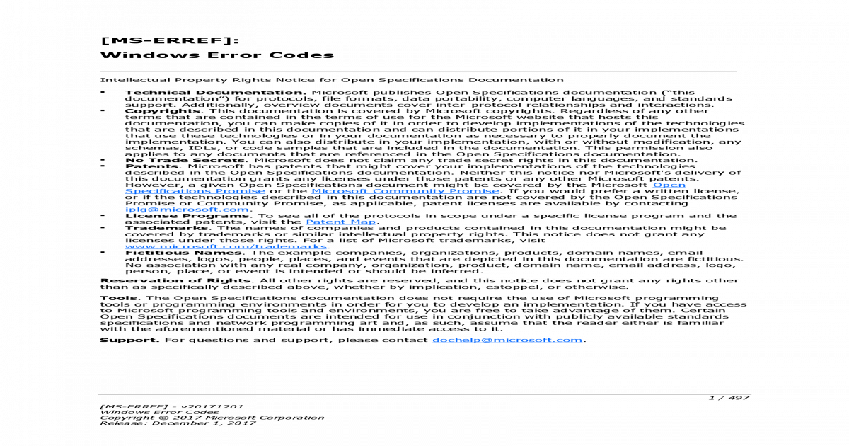 MS-ERREF]: Windows Error Codes - Microsoft MS-ERREF