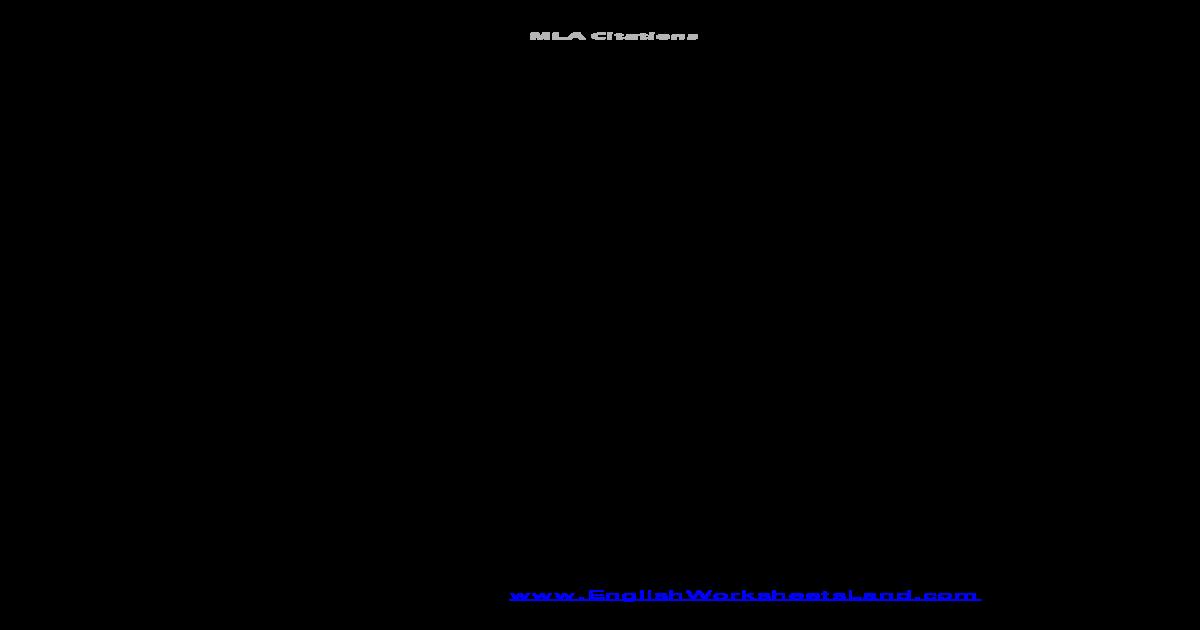 mla intext citations  english worksheets land intext
