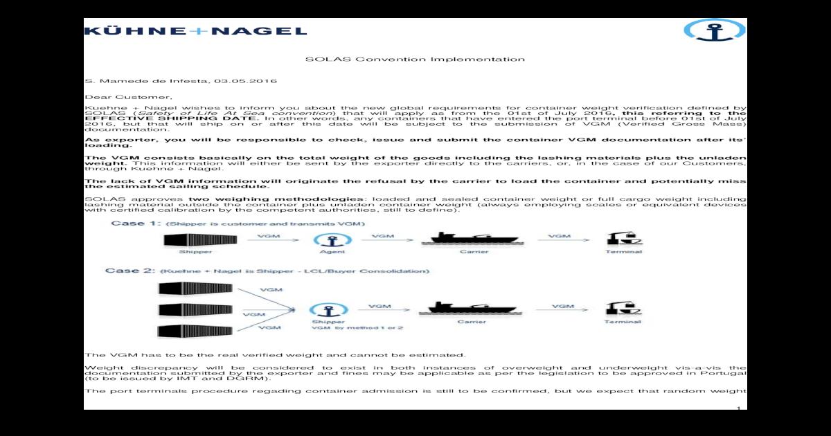 SOLAS Convention Implementation - Kuehne + Nagel ? 1 ...