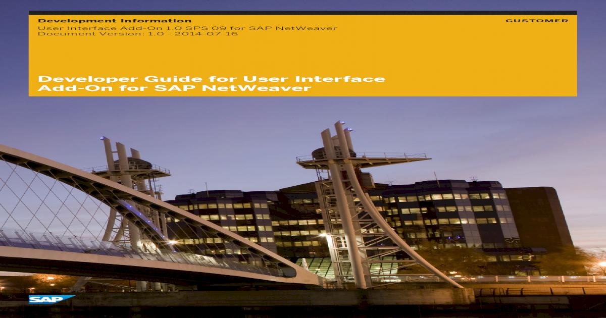 Developer Guide for UI Add-On for SAP NetWeaver
