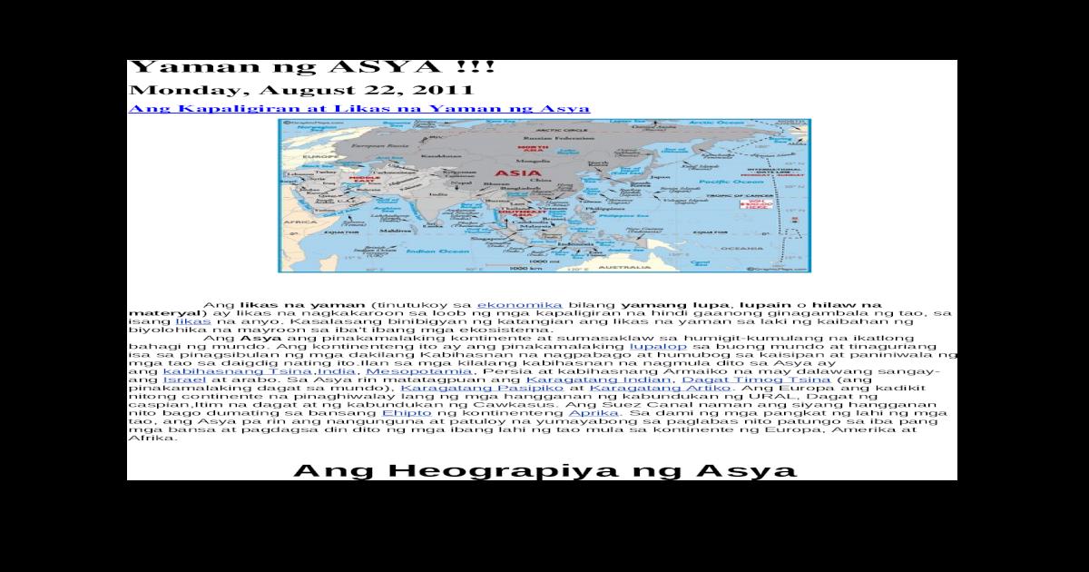 Yaman ng asya(anyong tubig at lupa)