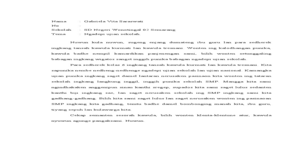 Contoh Pidato Bahasa Jawa Singkat Tentang Perpisahan Kumpulan Referensi Teks Pidato