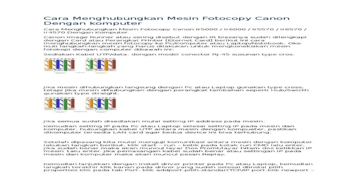 Cara Menghubungkan Mesin Fotocopy Canon Dengan Komputer