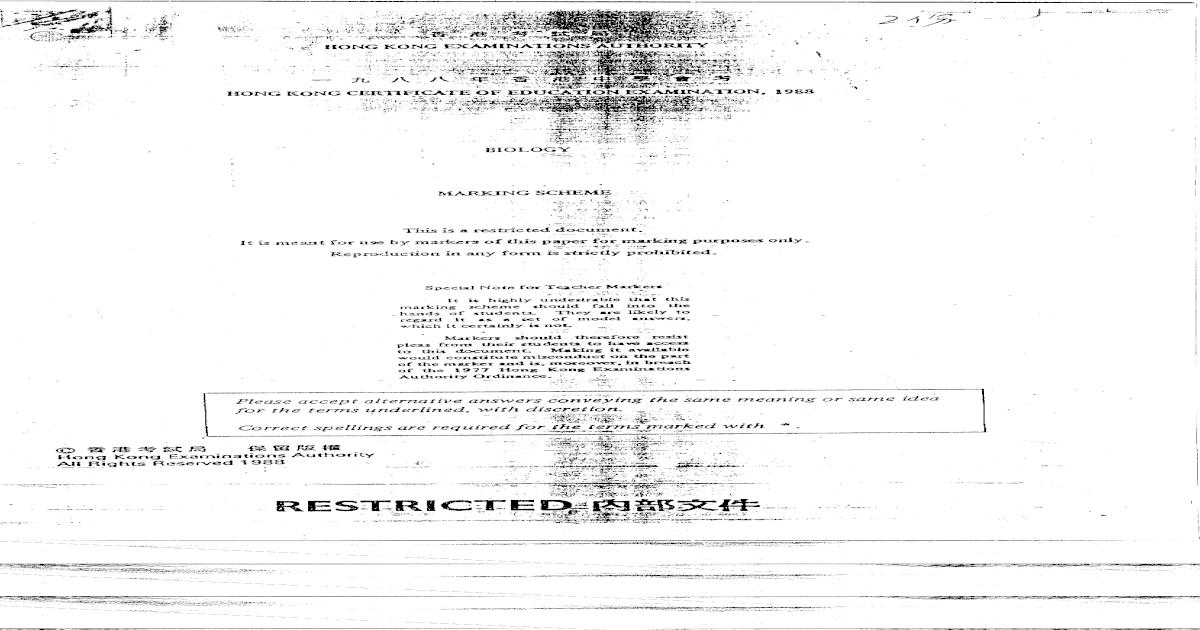 1988 Biology Paper I Marking Scheme