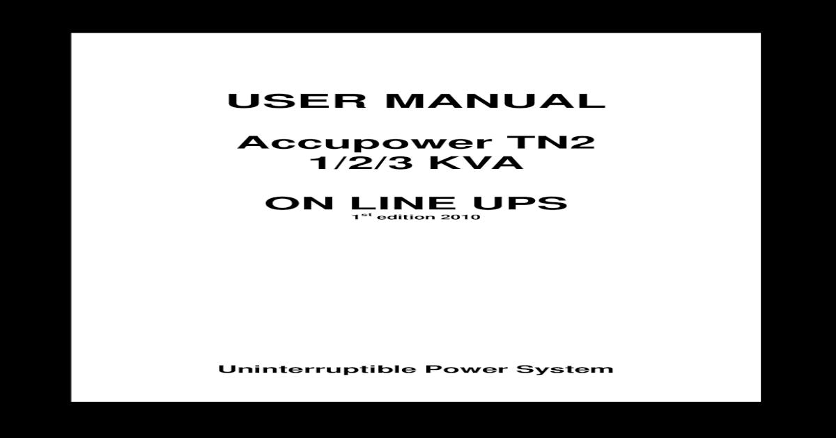 Accupower TN2 1-3kVA On-Line UPS User Manual