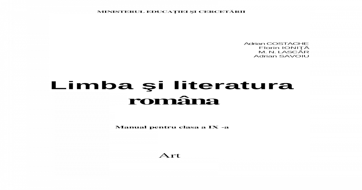 Art Limba Si Literatura Romana IX