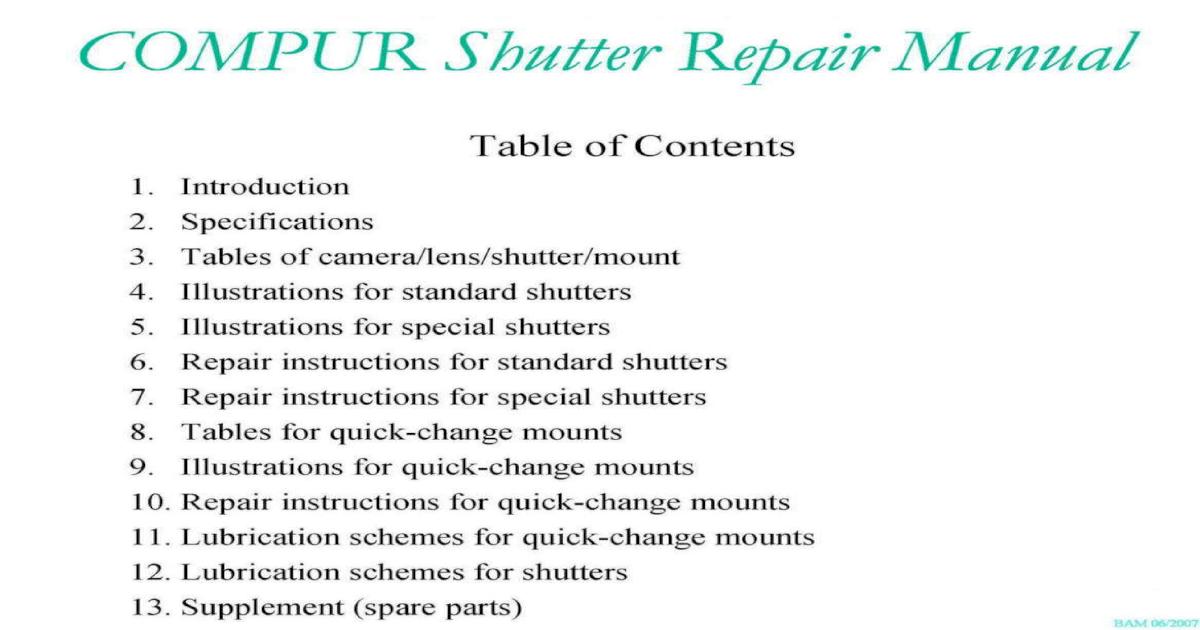 Compur Shutter Repair Manual