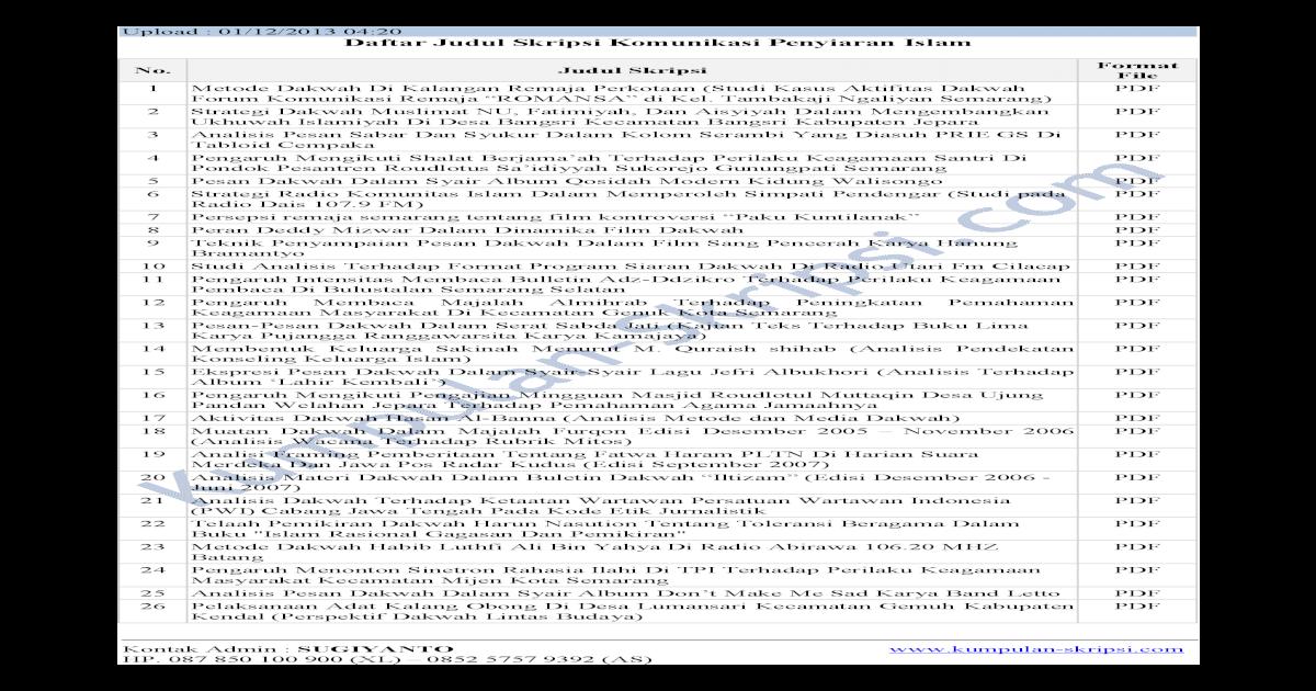 Upload 01 12 2013 04 20 Daftar Judul Skripsi Komunikasi A