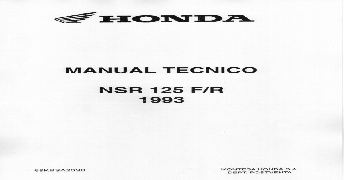 Honda NSR 125 F/R 1993 Manual de taller