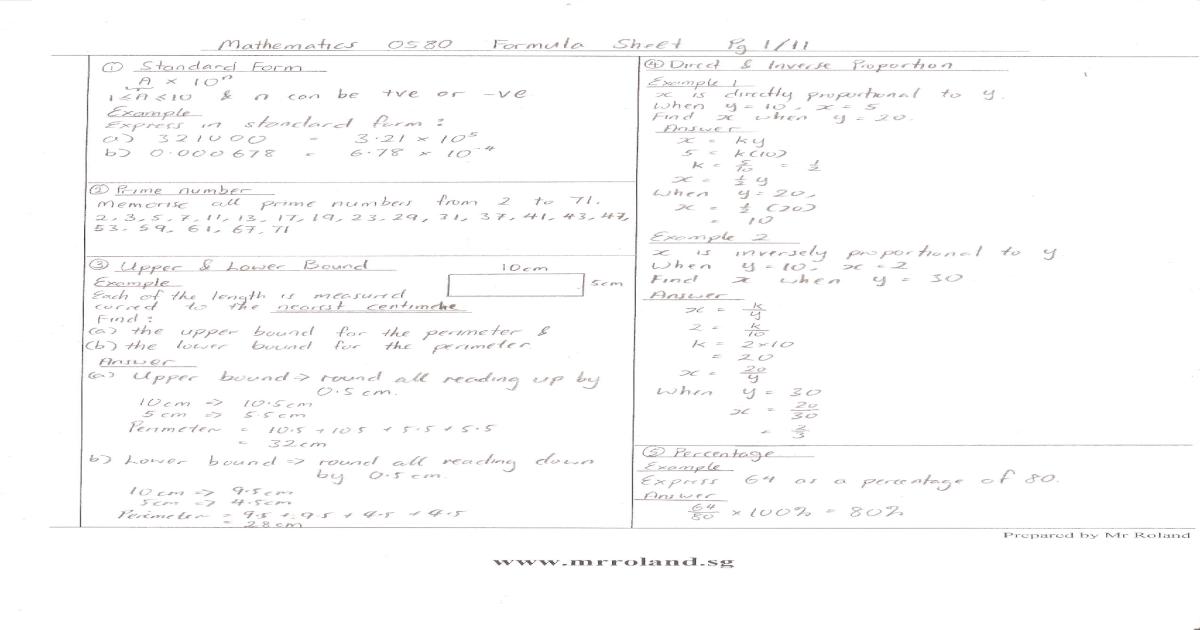 Mathematics 0580 Formula Sheet 2011
