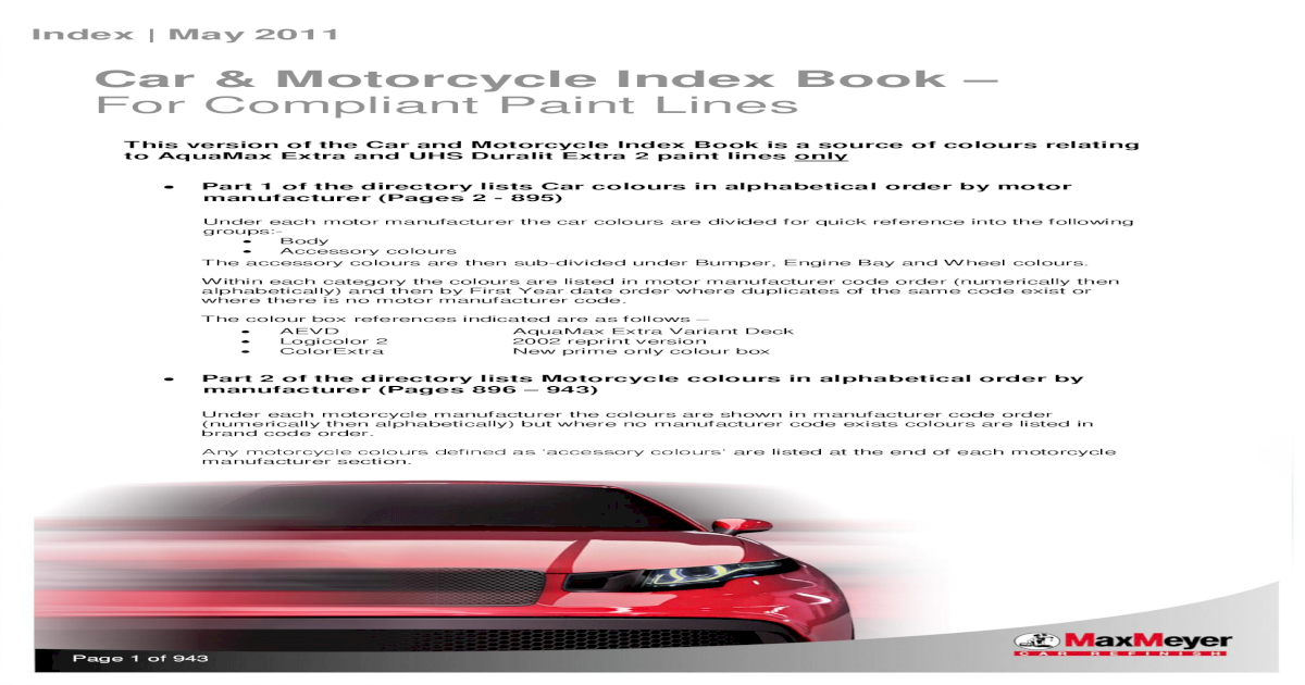 MaxMeyer_Car and Motorcycle Index Book