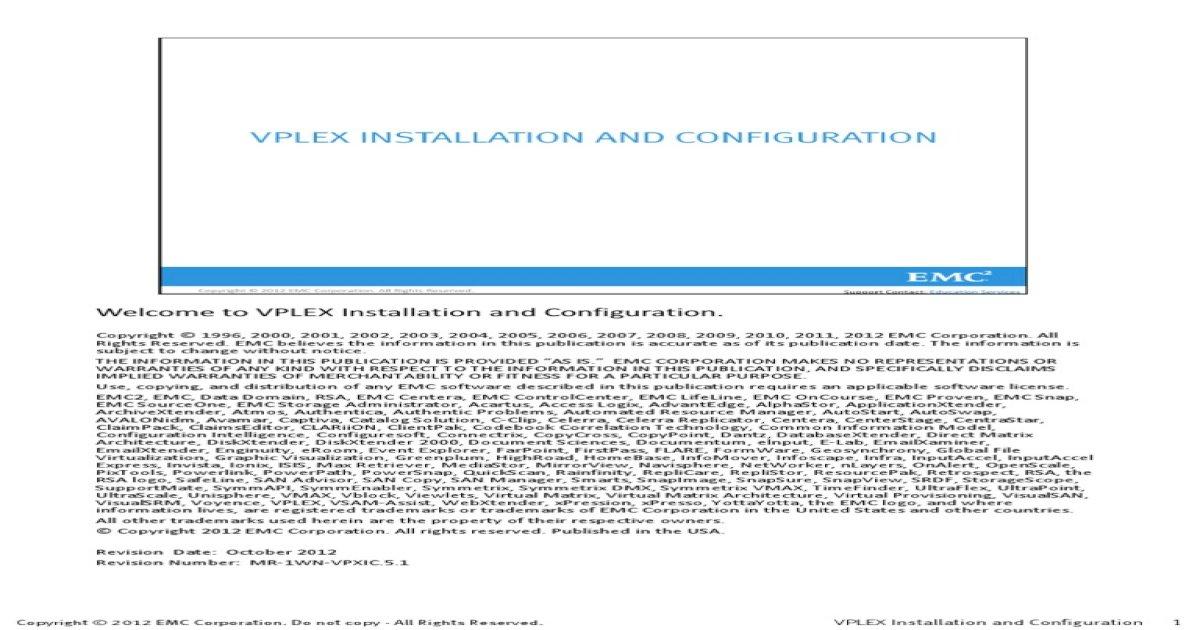 VPLEX Installation and Config Guide
