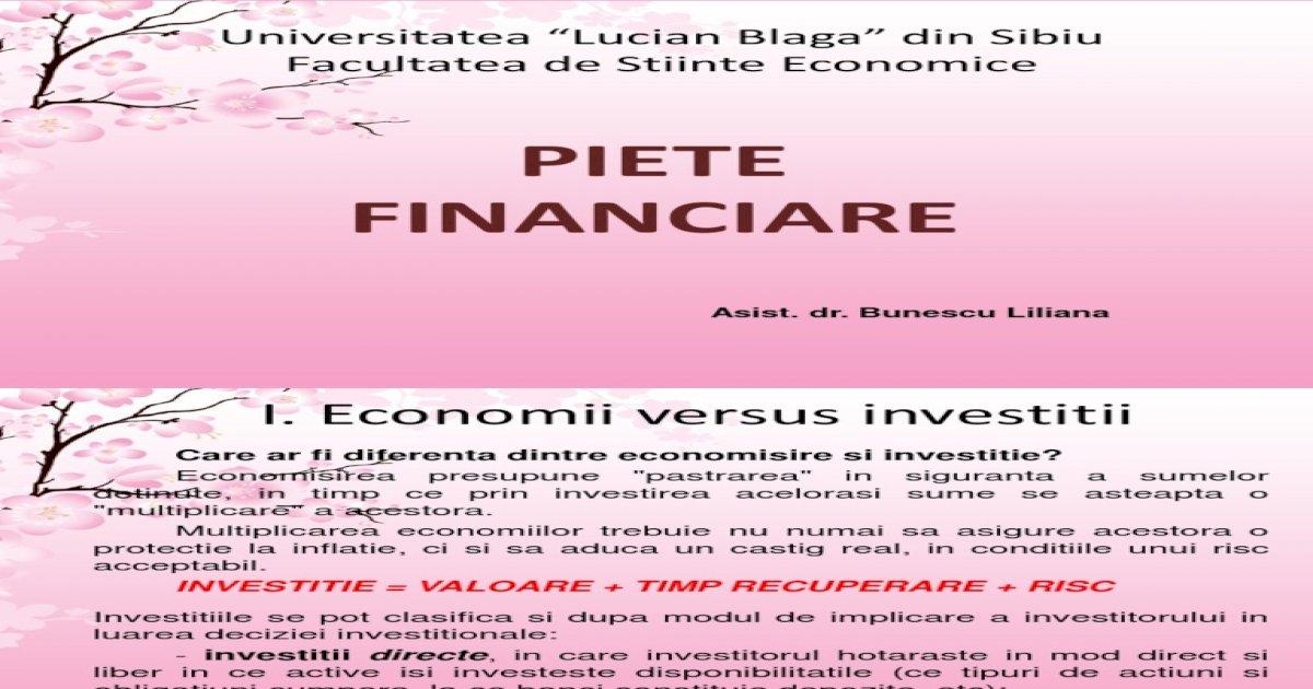 investiții în tipurile de piețe financiare)