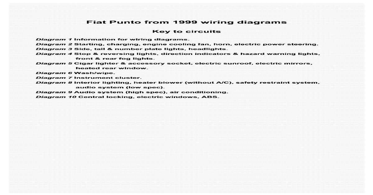 Fiat Punto Wiring Diagrams