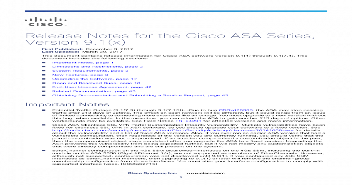 Release Notes for the Cisco ASA Series, 9 1(x)