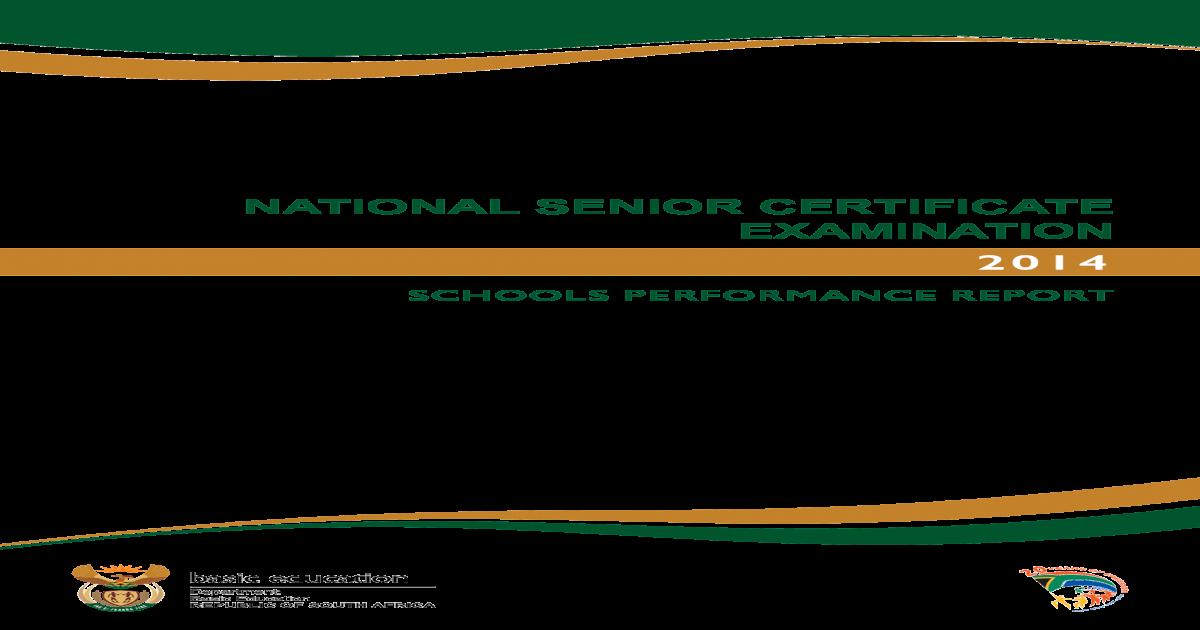 National Senior Certificate Examination 2014: Schools