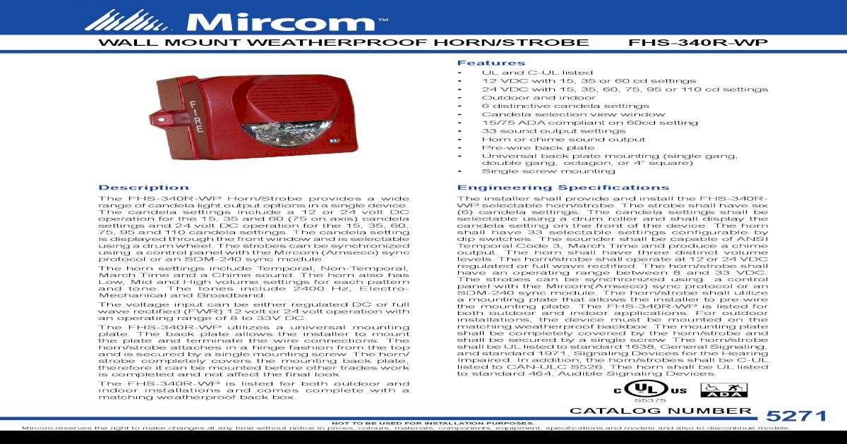 Fire Alarms NEW STROBE MIRCOM FHS-340 HORN Business & Industrial