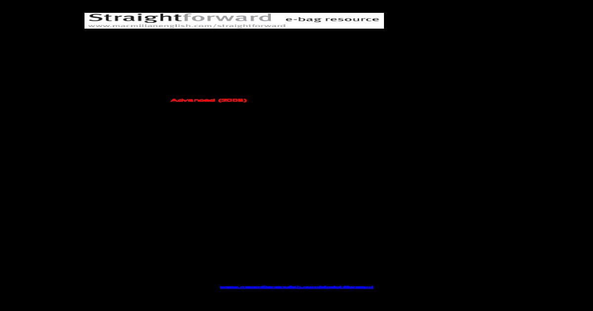 STRAIGHTFORWARD UPPER INTERMEDIATE PLACEMENT TEST