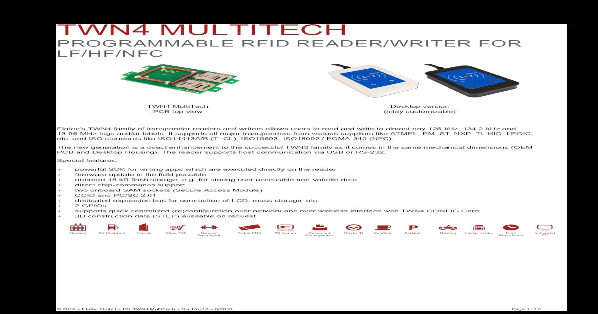 TWN4 MULTITECH - elatec-rfid com ? LEGIC Advant1), MIFARE