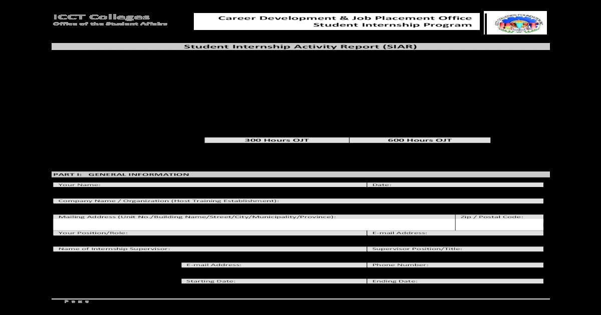 Student Internship Activity Report (SIAR) - ICCT icct edu ph
