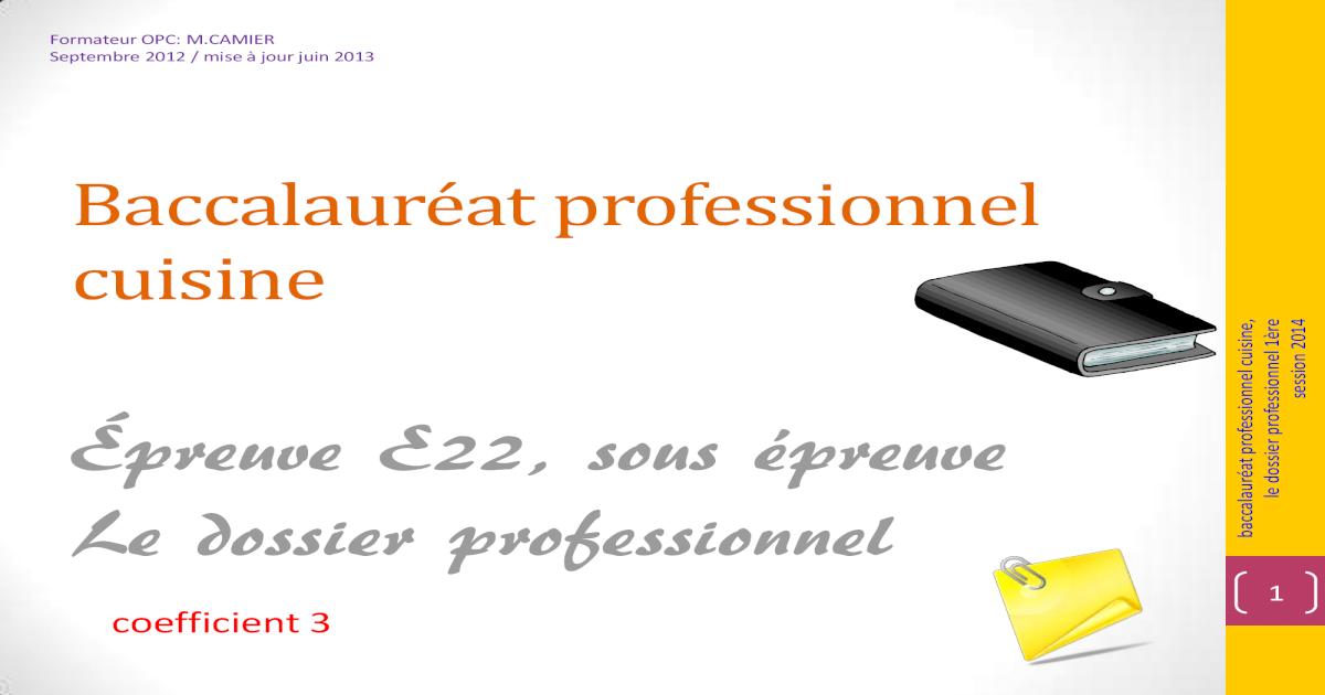 Preuve E22 Sous Preuve Le Dossier Professionnel Une Preuve