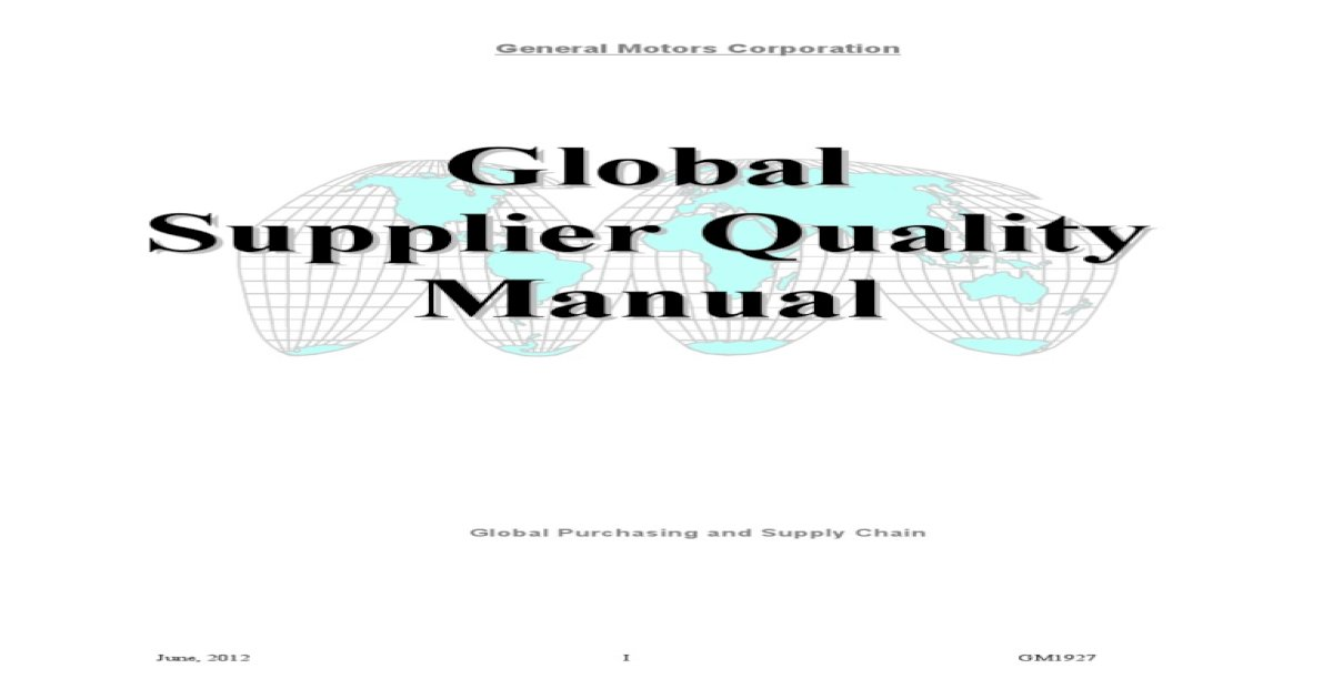 175724110 GM 1927 Supplier Quality Manual