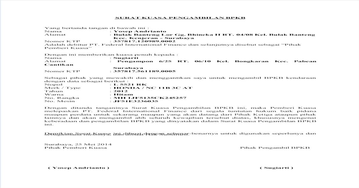 Contoh Surat Kuasa Untuk Pengambilan Bpkb Di Bank