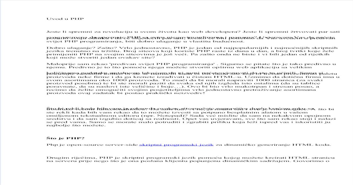 Skripte za upoznavanje web stranica php