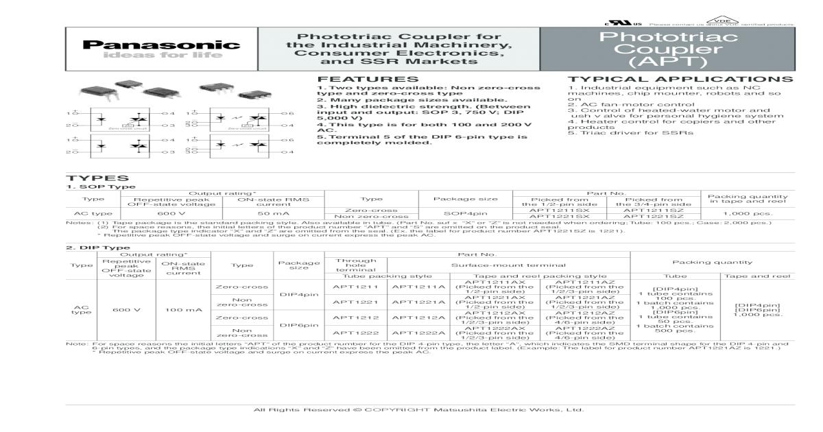 600 V 0.6 A Zero Crossing Photo triac 2 x Panasonic AQH1213 Solid State Relay